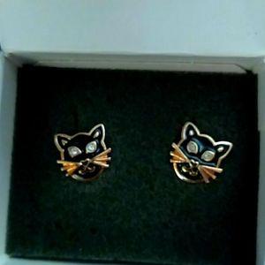 Vintage 1992 Avon Black Cat Earrings NIB